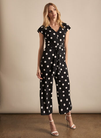 Karl Lagerfeld Paris - Polka Dot Print Long Jumpsuit, Black,  Karl Lagerfeld Paris, jumpsuit, polka dot jumpsuit, polka dot print, polka dots, spring 2020, summer 2020