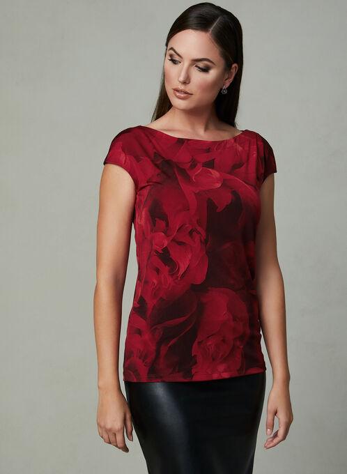 Haut à motif floral avec mancherons , Rouge, hi-res