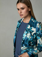 Floral Print Open Front Blazer, Blue, hi-res
