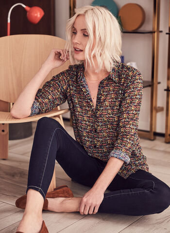 Tweed Print Tunic Blouse, Multi,  top, tunic, blouse, high low, tweed, multicolour, shirt collar, long sleeves, button front, chiffon, spring summer 2021