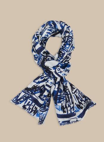 Karl Lagerfeld Paris - Foulard motif Paris, Bleu,  foulard, léger, paris, aquarelle, modal, soie, printemps été 2020