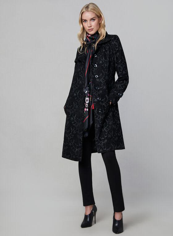 Manteau mi-long à motif tapisserie, Noir