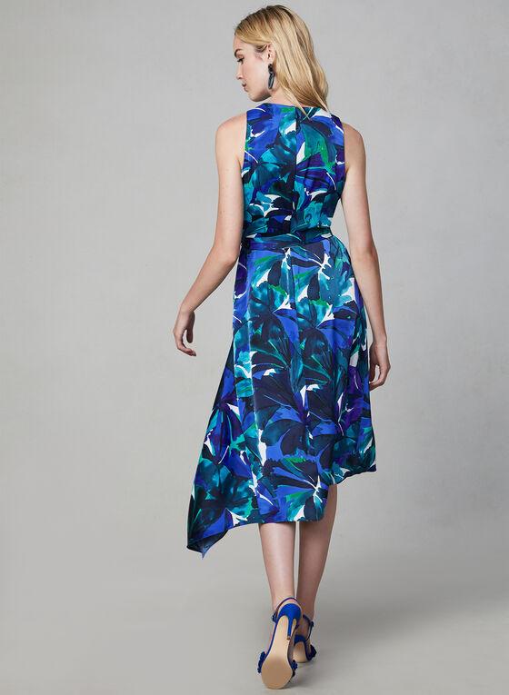 Robe fleurie midi à ourlet édenté, Bleu, hi-res