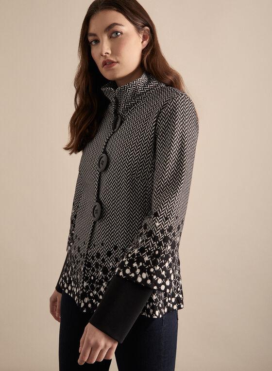 Joseph Ribkoff - Buttoned Mixed Print Jacket, Black