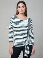 Stripe Print Tie Detail Top, White, hi-res
