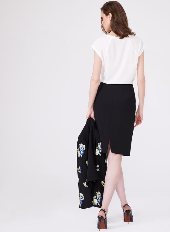 T Tahari - Embroidered Detail Crepe Pencil Skirt, Black, hi-res