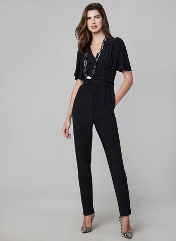 V-Neck Jersey Jumpsuit, Black,  jumpsuit, short sleeves, flutter sleeves, ruched, V-neck, jersey, fall 2019, winter 2019