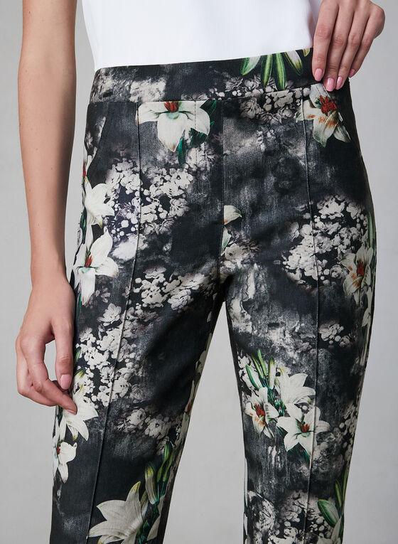 Joseph Ribkoff - Pantalon fleuri à jambe étroite, Noir, hi-res