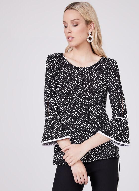 Dot Print Bell Sleeve Top, Black, hi-res