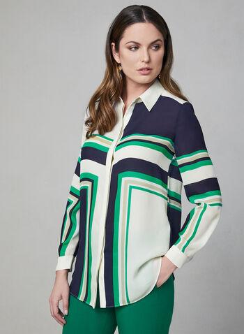 Blouse à imprimé géométrique, Blanc, hi-res,  chemisier, contraste, contrastant, manches longues, printemps 2019