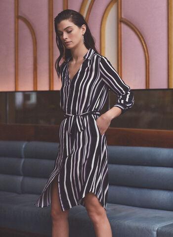Stripe Print Belted Shirt Dress, Black,  dress, shirt dress, stripe print, belt, long sleeves, fall winter 2020