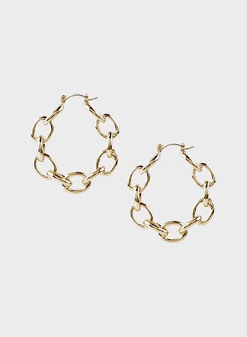 Chain Link Earrings, Gold, hi-res