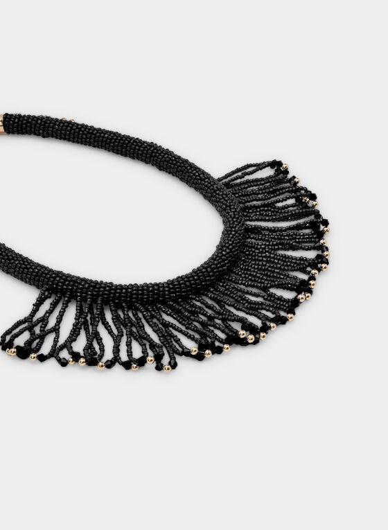 Seed Bead Fringe Necklace, Black, hi-res