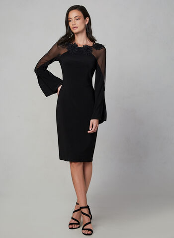 Frank Lyman - Long Sleeve Dress, Black, hi-res,  sheer, long sleeves, floral, flowers, cocktail dress, slit, straight, slim, fall 2019, winter 2019