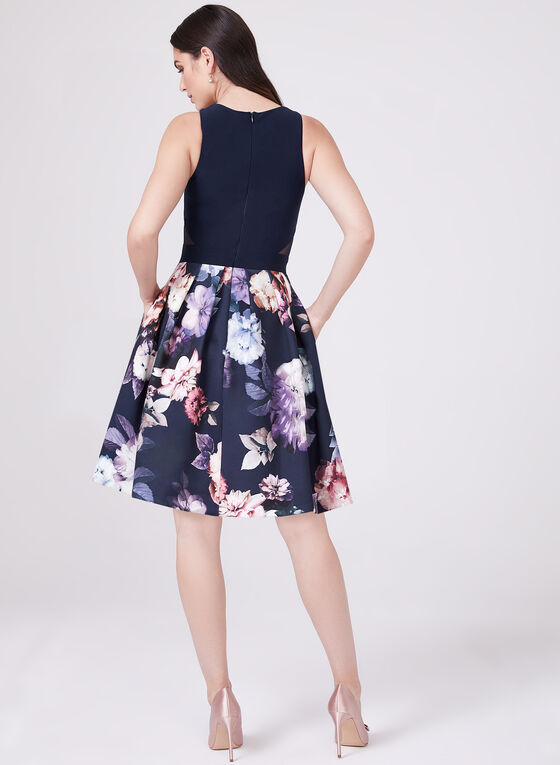 BA Nites - Floral Print Fit & Flare Dress, Blue