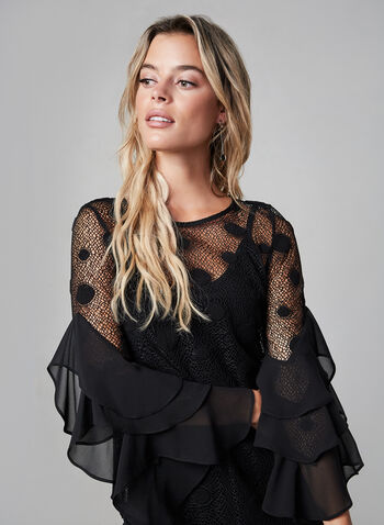 Joseph Ribkoff - Bell Sleeve Lace Top, Black,  fall winter 2019, crochet effect, bell sleeves, scoop neck, long sleeves,