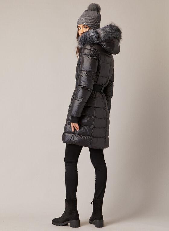 Sicily - Manteau matelassé à fausse fourrure, Noir