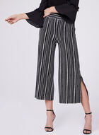 Wide Leg Stripe Print Culottes, Black, hi-res