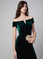 BA Nites - Robe en velours à épaules dénudées, Vert
