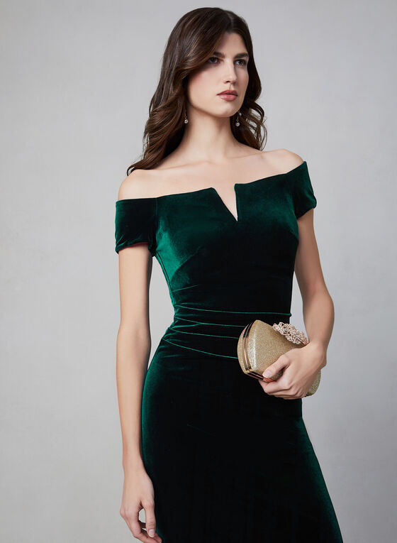 BA Nites - Off-the-Shoulder Velvet Dress , Green, hi-res