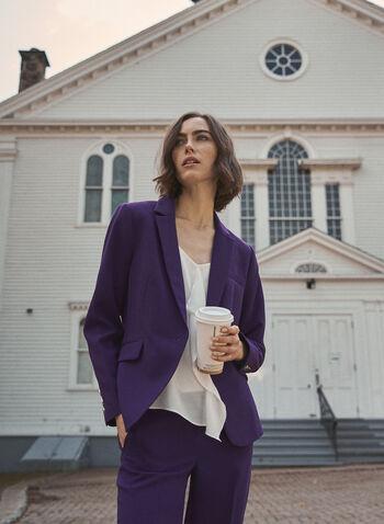 Notched Collar Single Button Jacket, Purple,  jacket, blazer, notched collar, ponte di roma, bi-stretch, fall winter 2020
