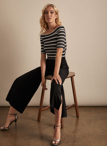 Stripe Print Off-The-Shoulder Top, Black,  Canada, top, off-the-shoulder, stripe top, stripe print, metallic, metallic top, elbow sleeves, spring 2020, summer 2020