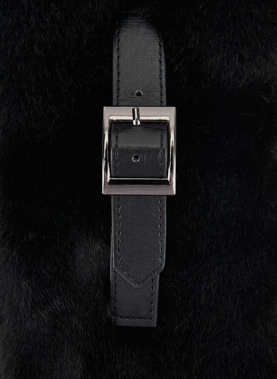 Écharpe en fausse fourrure et détail ceinture, Noir