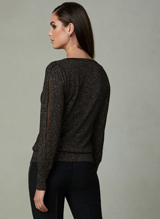 Glitter Knit Sweater, Black, hi-res