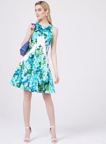 Maggy London - Abstract Floral Print Cotton Dress, Blue, hi-res