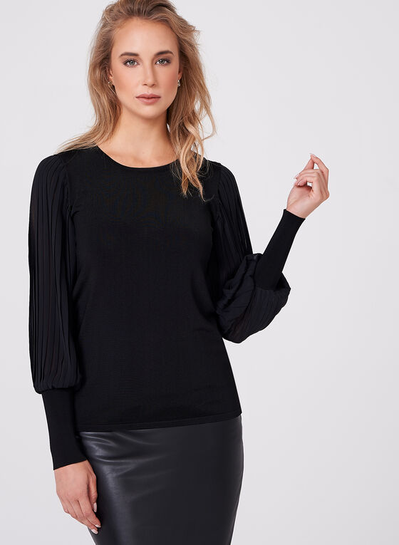Pleated Chiffon Sleeve Knit Top, Black, hi-res