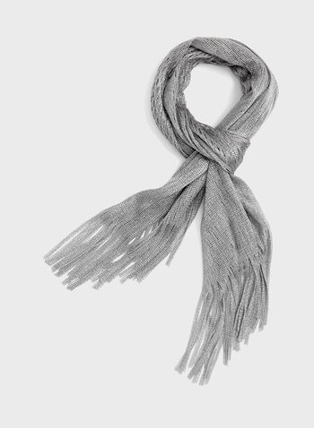 Fringed Glitter Scarf, Silver, hi-res