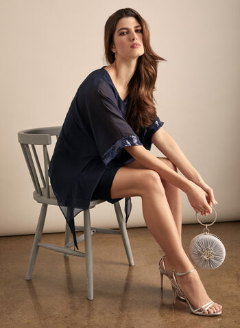 Joseph Ribkoff - Chiffon Overlay Cocktail Dress, Blue,  dress, cocktail, scoop neck, dolman, sequins, chiffon, jersey, spring summer 2020