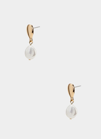 Teardrop Pearl Earrings, Off White, hi-res,  earrings, teardrop, pearl, fall 2019