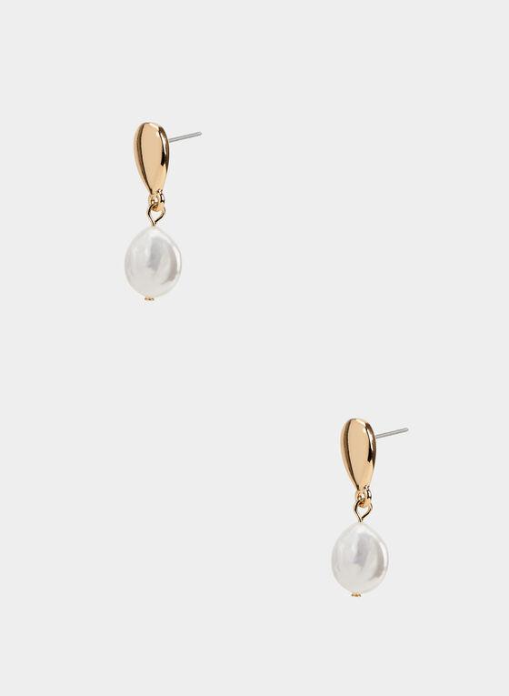 Boucles d'oreilles à pendant perle, Blanc cassé