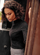 Tonal Pattern Jacquard Sweater, Black