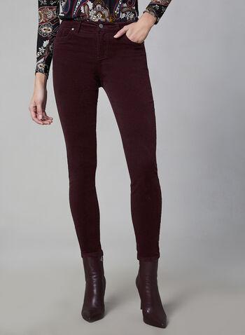 Vince Camuto - Pantalon en velours côtelé, Rouge,  pantalon, jambe étroite, velours côtelé, poches, automne hiver 2019