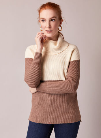 Colour Block Wide Turtleneck Sweater, Off White,  fall winter 2020, winter, sweater, knit, colour block, warm, long sleeve, comfort, stretch, made in canada, wide turtleneck, ribbed, colour block