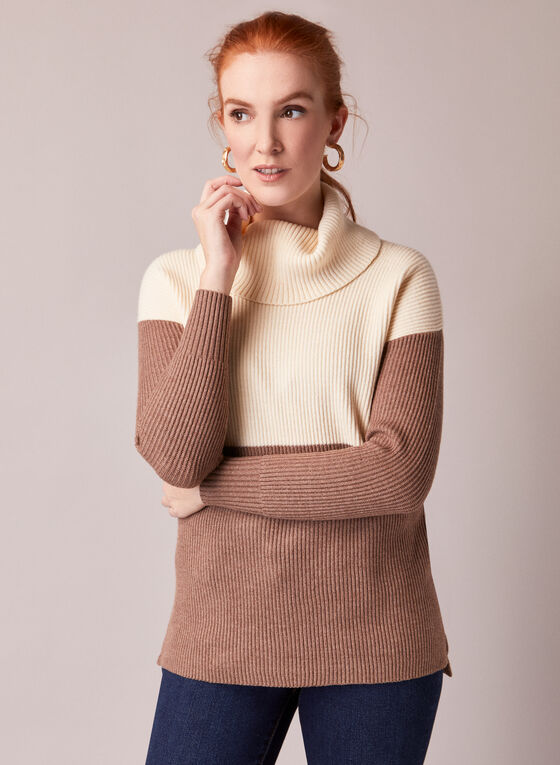 Colour Block Wide Turtleneck Sweater, Off White