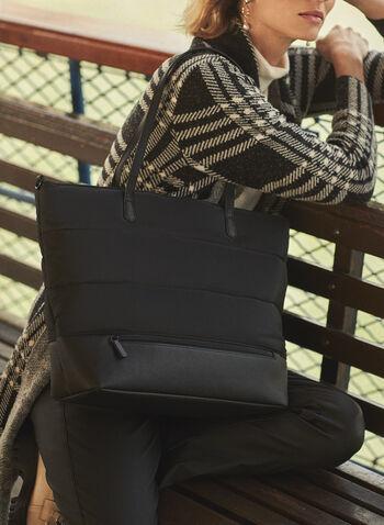 Puffer Nylon Tote Bag, Black,  fall 2021, accessory, accessories, bag, purse, tote, handbag, puffer, nylon, polyester, shoulder strap, zipper, closure, matte, accents, details