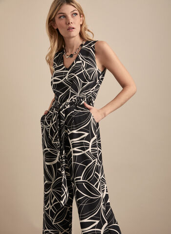 Linea Domani - Abstract Print Jumpsuit, Black,  jumpsuit, sleeveless, v neck, abstract, wide leg, spring summer 2020