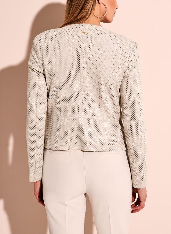 Vex Perforated Zipper Trim Faux Suede Jacket, Grey, hi-res