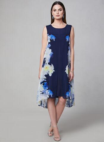 Robe à fleurs en mousseline fendue, Bleu, hi-res
