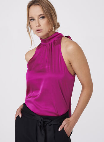 Sleeveless Satin Tie Back Blouse, , hi-res