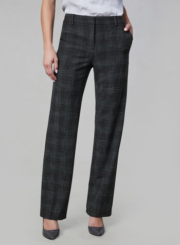 Plaid Print Wide Leg Pants, Grey,  wide leg, plaid, suiting, trouser, tailored, fall 2019, winter 2019