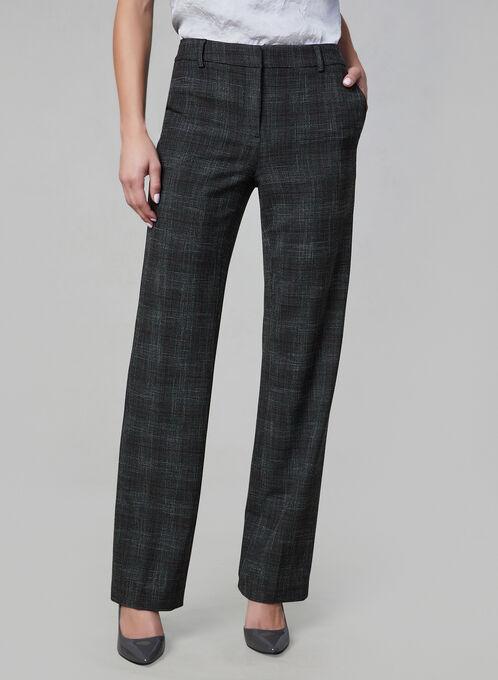 Plaid Print Wide Leg Pants, Grey, hi-res