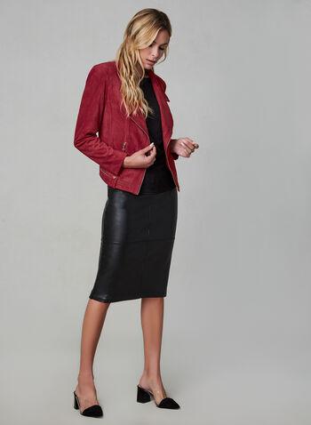 Vex - Veste à col cranté et détails zippés, Rouge, hi-res,  manches longues, aspect suède, suédé, faux suède, automne hiver 2019