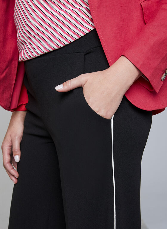 Contrast Trim Wide Leg Pants, Black, hi-res