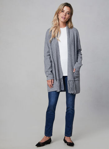 Open Front Fringe Cardigan, Grey, hi-res,  fringe, long sleeves, pockets, fall 2019, winter 2019