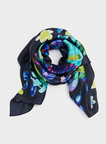 Foulard léger en soie avec motif floral, Bleu, hi-res