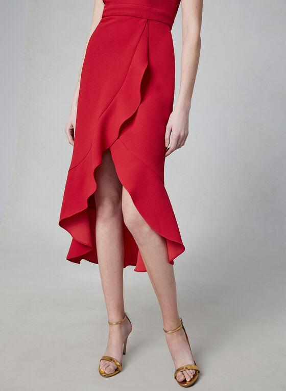 BA Nites - Robe à encolure cœur en crêpe, Rouge, hi-res
